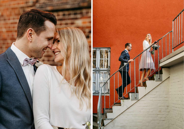 Hochzeitsfotos in Lüneburg Hochzeitsfotograf Fotograf Lüneburg Altstadt Heinrich-Heine-Haus Nikolai-Kirche Senkungsgebiet Anna Frey Brautpaarshooting Hochzeitsshooting